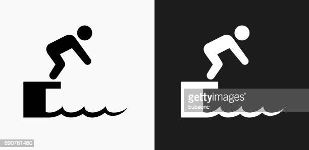 Diving Icon on Black and White Vector Backgrounds