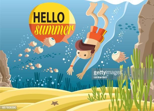 diving in deep blue sea