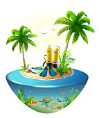 Diving in tropical sea off paradise island. Beach vacation, palm tree, diving mask, oxygen tank, fin, underwater world