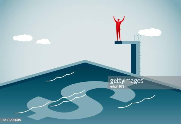 水に潜る - 水に飛び込む点のイラスト素材/クリップアート素材/マンガ素材/アイコン素材