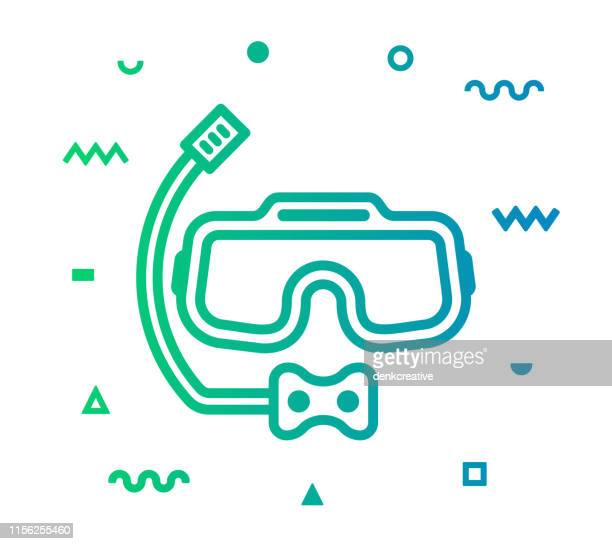 diving line style icon design - snorkel stock illustrations