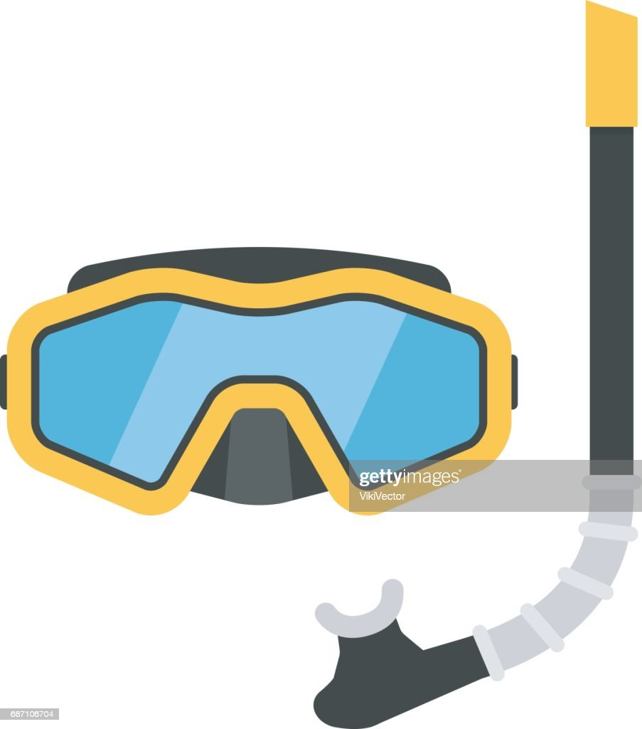 Diving mask and snorkel vector illustration