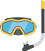 Diving mask and snorkel vector illustration