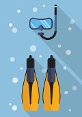 Diving mask with snorkel and swimming flippers flat icon