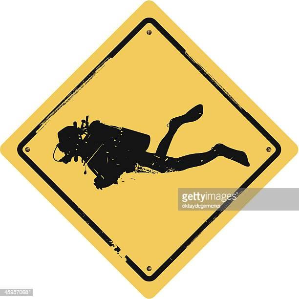 diving sign - scuba diving stock illustrations