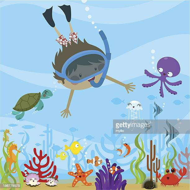 diving - turtle stock illustrations