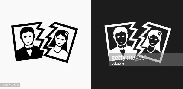 Divorce Icon on Black and White Vector Backgrounds