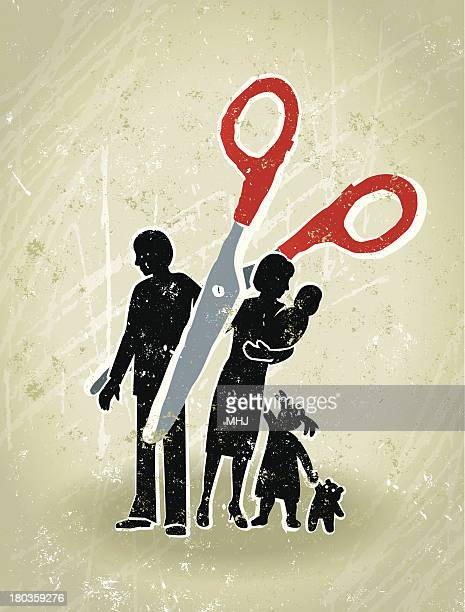 divorce - scissors cutting through a family - battle of the sexes concept stock illustrations