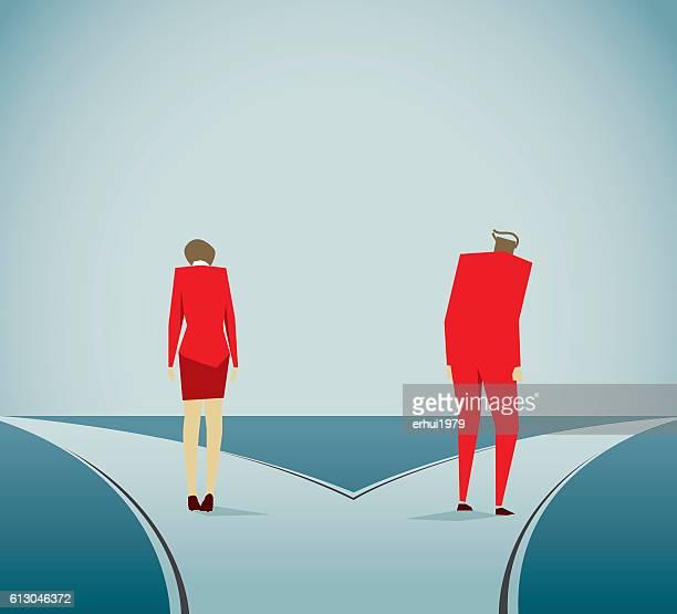 離婚時 - 分かれ道点のイラスト素材/クリップアート素材/マンガ素材/アイコン素材
