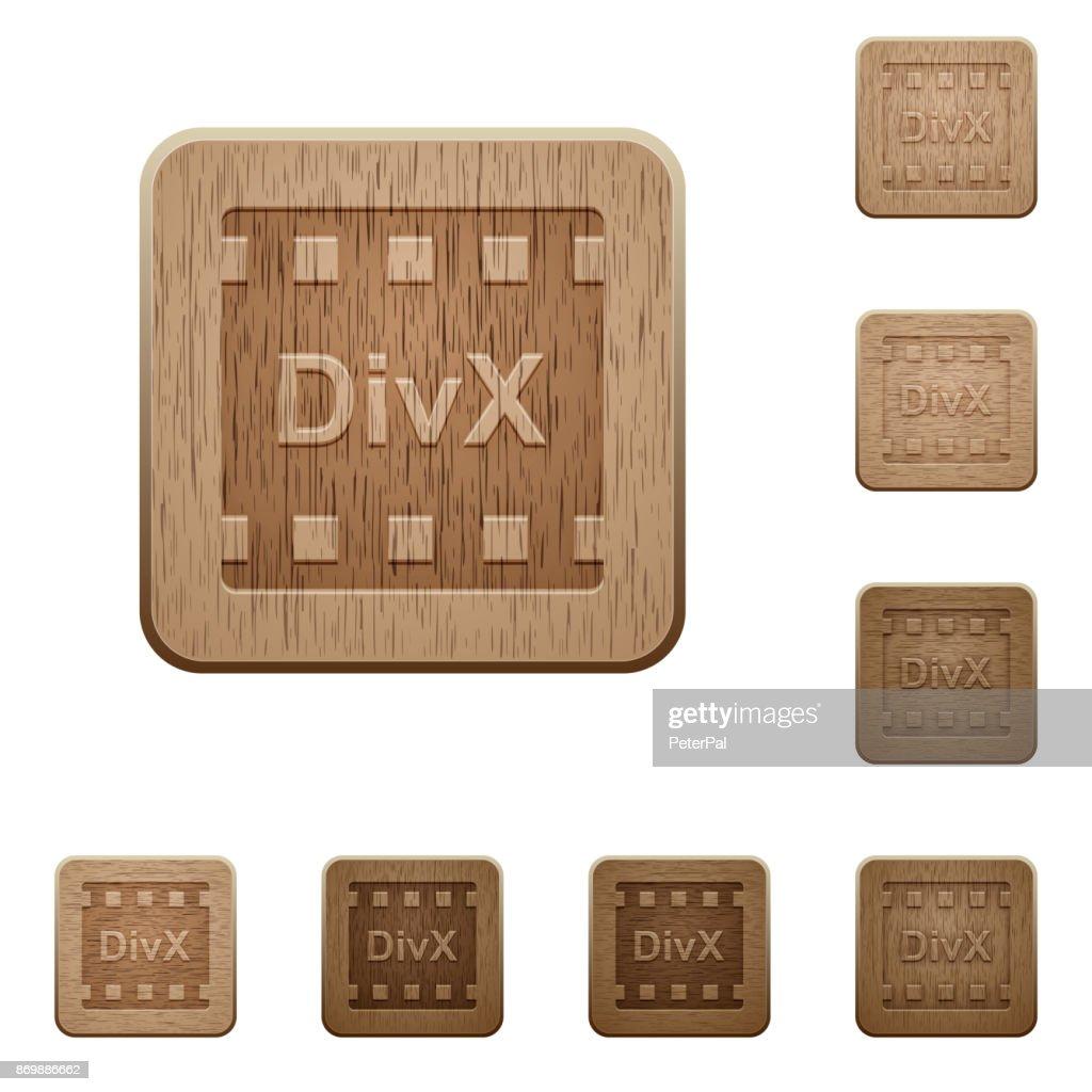 DivX movie format wooden buttons