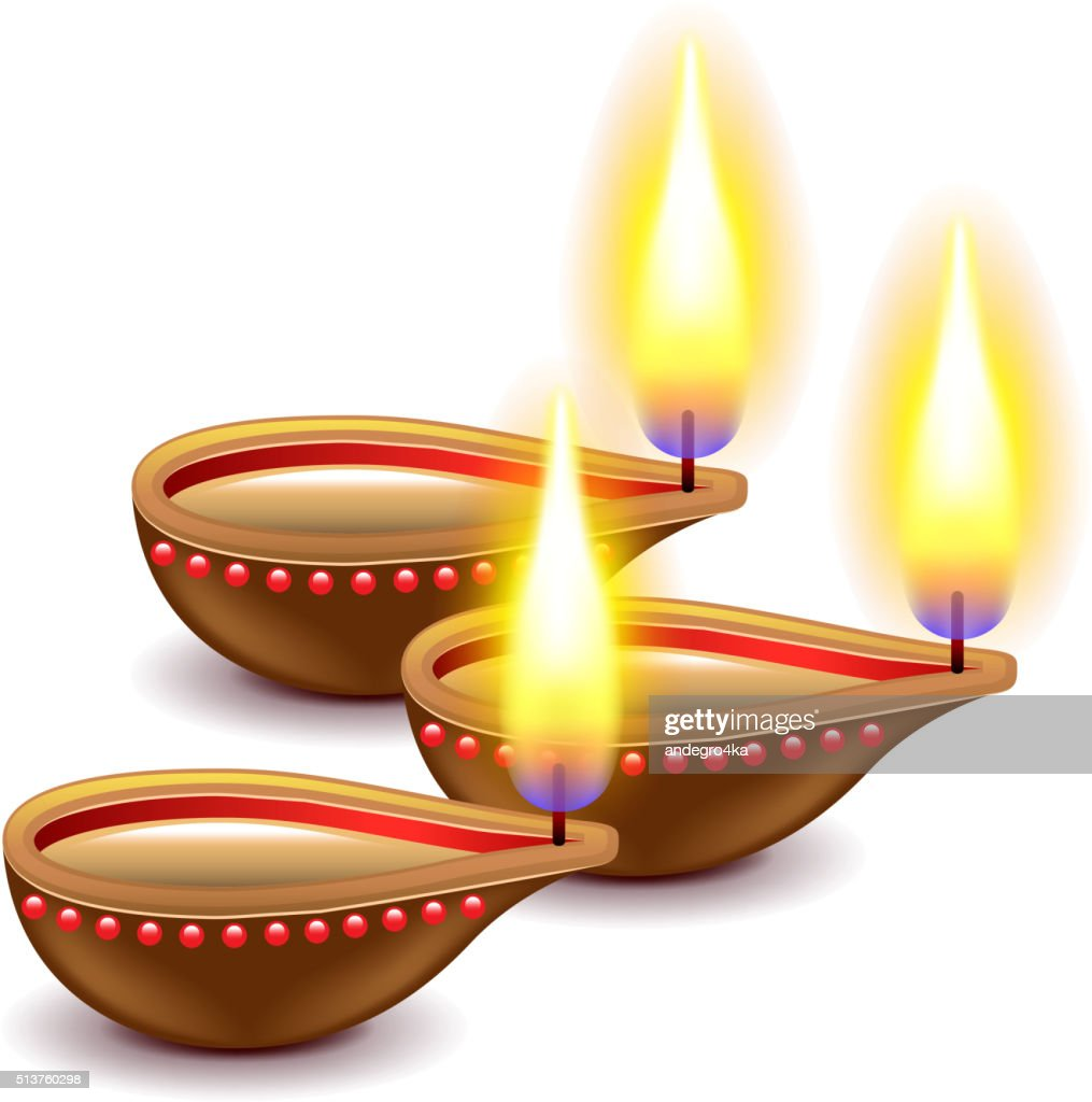 Diwali candles isolated on white vector