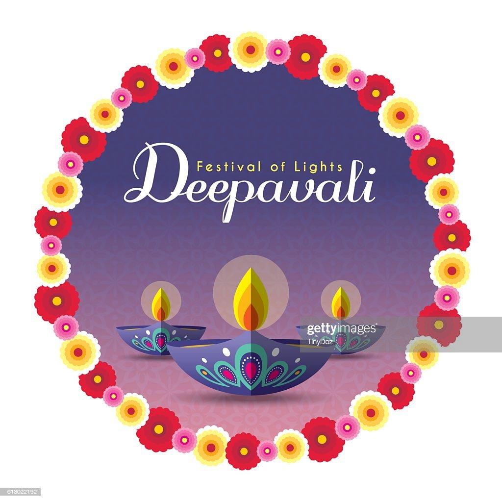 Diwali diya with wreath 2