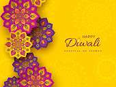 Diwali festival holiday design with paper cut style of Indian Rangoli. Purple color on yellow background, vector illustration.