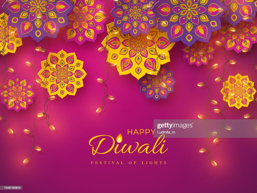Diwali festival holiday design with rangoli.