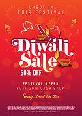 Diwali Festival Sale Poster Flyer Design Layout Template A4 Size