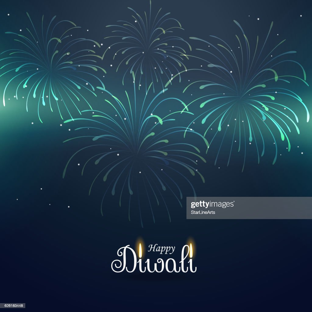 Diwali Greeting Background With Fireworks Vector Art Getty Images