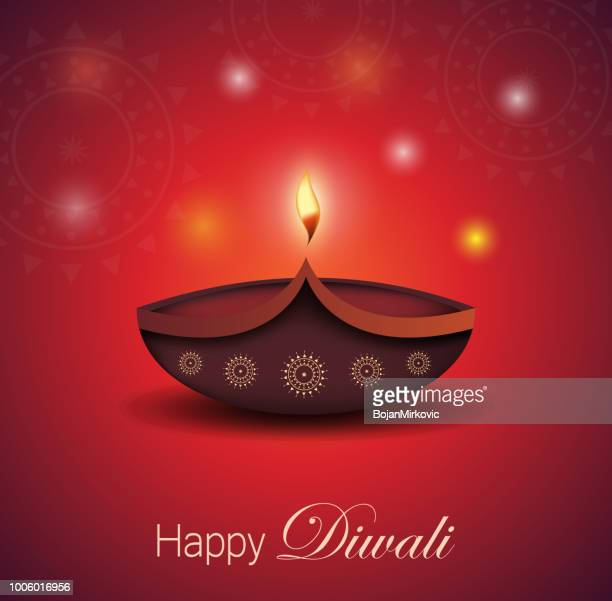diwali greeting card. burning diya. festival of lights. vector illustration. - diwali decoration stock illustrations
