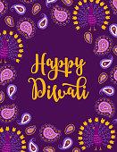 Diwali greeting card with paisley and peacocks