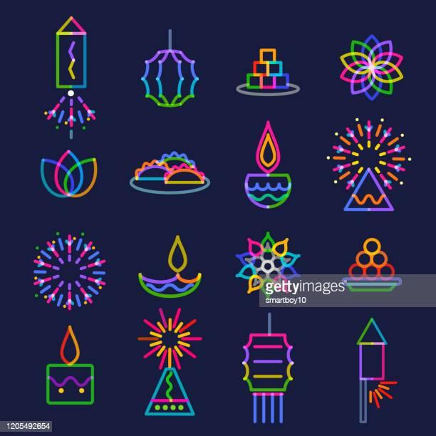 diwali greeting icon set - diwali stock illustrations