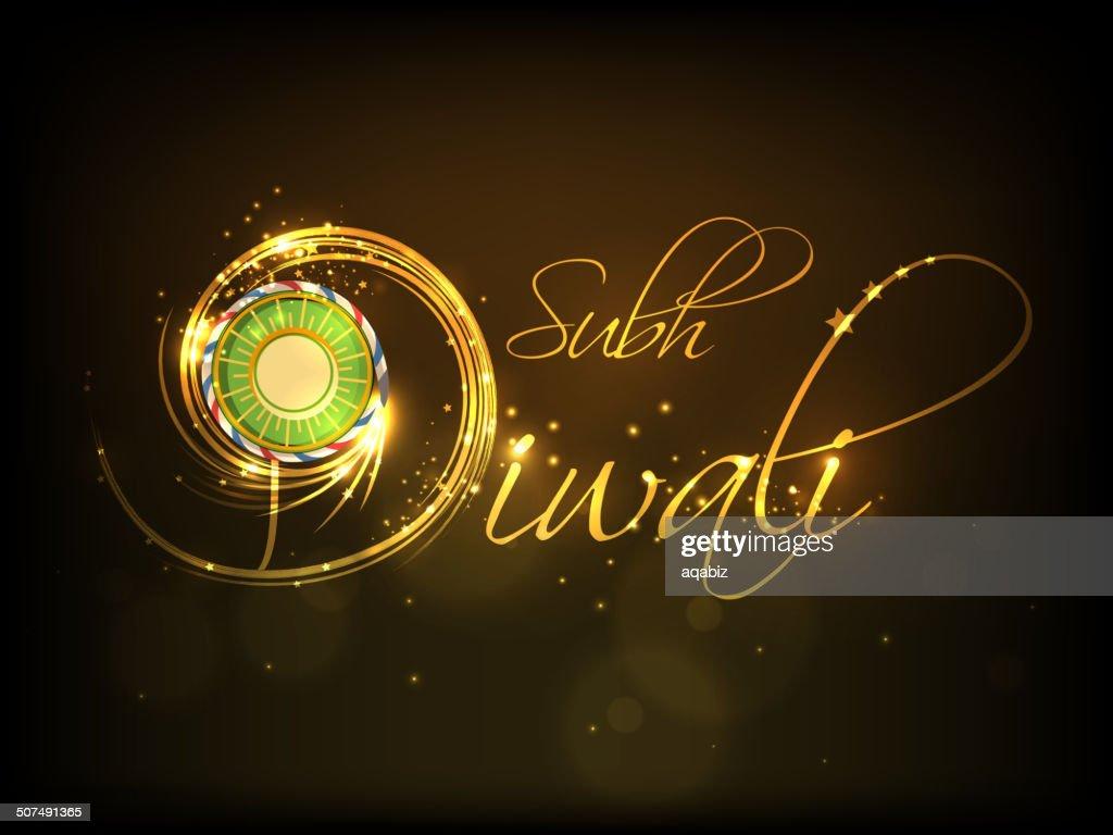 Diwali greeting with beautiful firework and stylish text Subh Diwali.