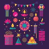 Diwali Hindu festival flat modern elements for graphic and web