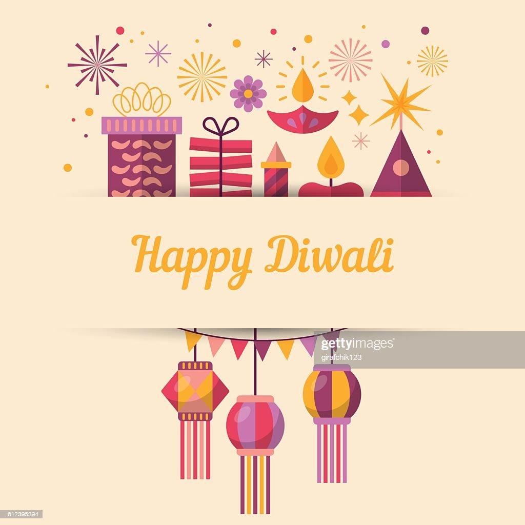 Diwali Hindu festival greeting card design with flat modern elements