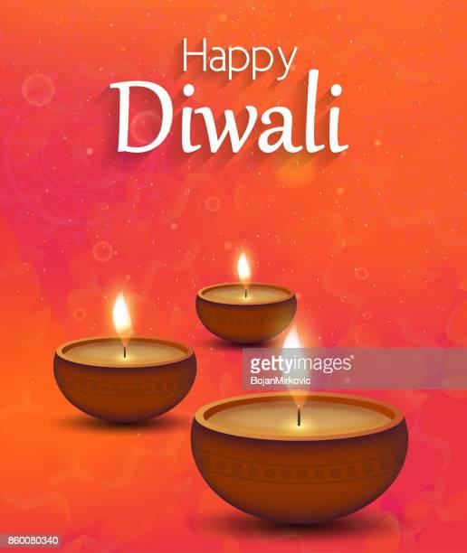 diwali illustration poster with burning diya - diwali stock illustrations