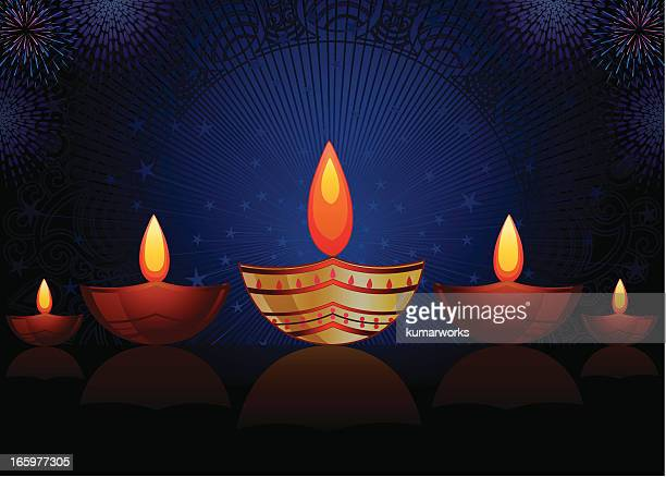 diwali lamp - candle stock illustrations, clip art, cartoons, & icons