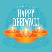 Diwali or Deepavali greetings template with beautiful burning diwali diya (india oil lamp) vector illustration.