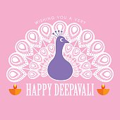 Diwali or Deepavali greetings template with beautiful peacock vector illustration.