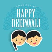 Diwali or Deepavali greetings template with cute indian boy and girl vector illustration.