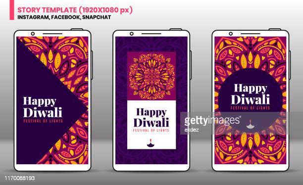 diwali social network story template - diwali stock illustrations