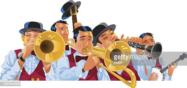 dixieland jazz band - new orleans stock illustrations, clip art, cartoons, & icons