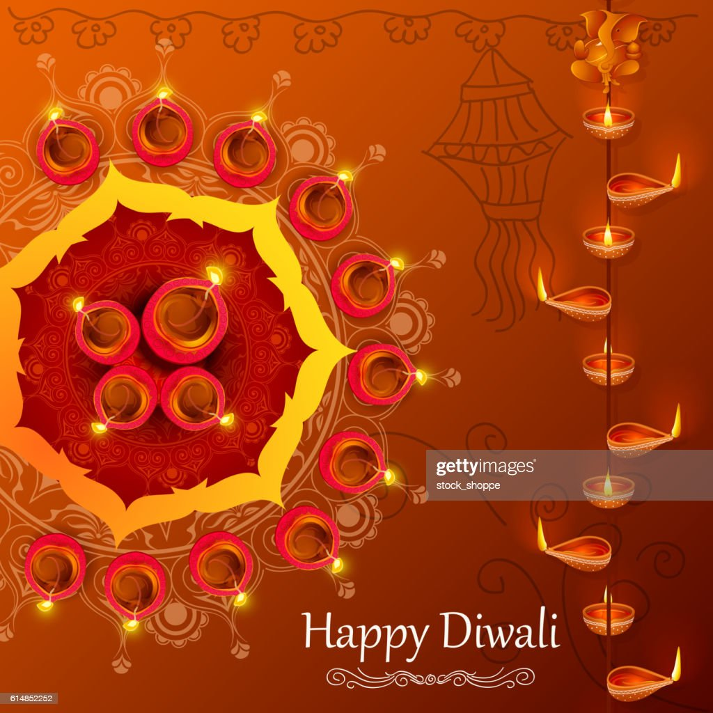 Diya for Happy Diwali holiday of India