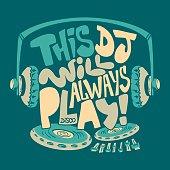 dj headphone, typography and tee shirt graphics print