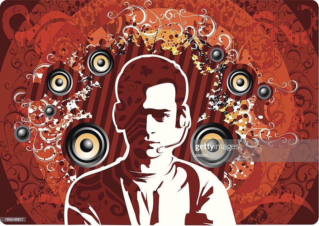 Dj music design : stock illustration