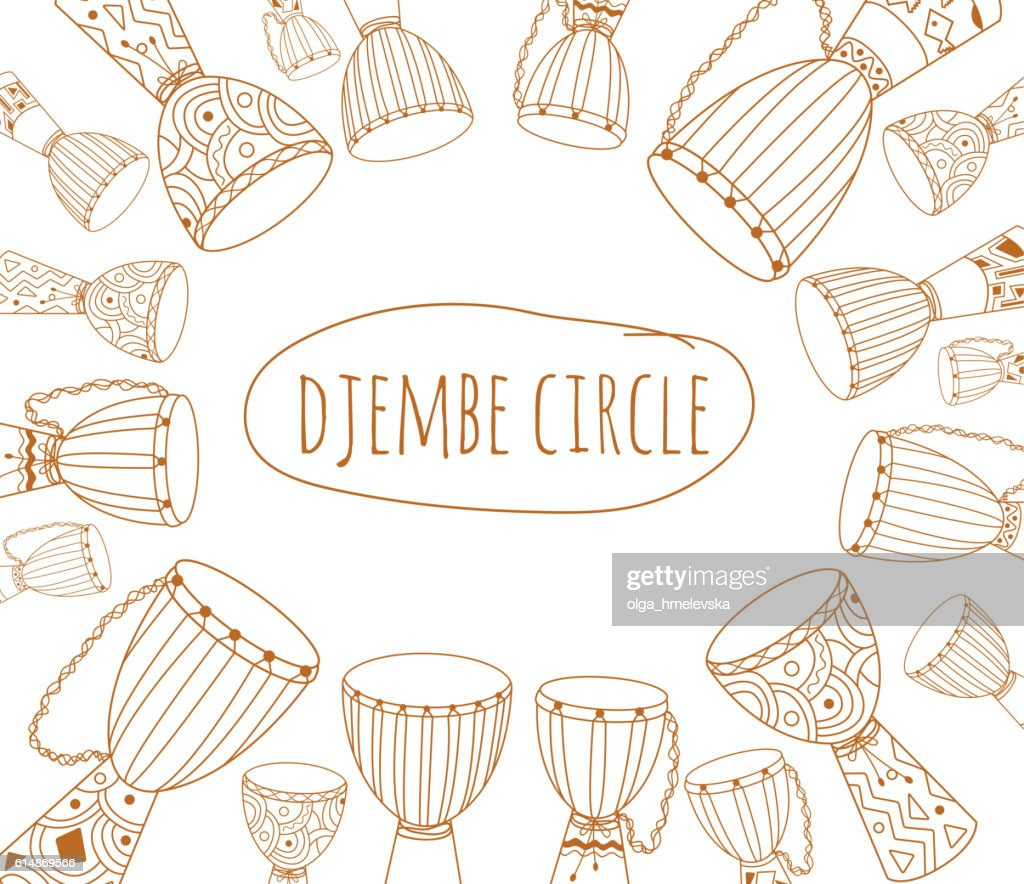 Djembe circle doodle flyer design