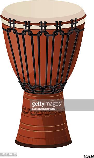 djembe drum isolated - drum percussion instrument stock illustrations, clip art, cartoons, & icons