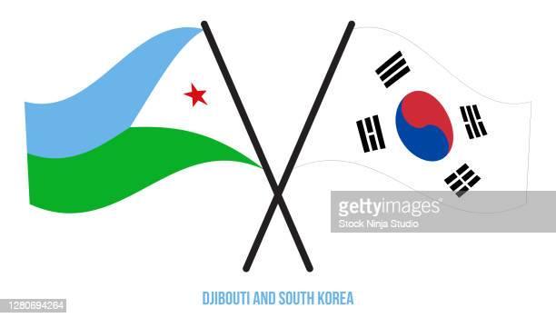 djibouti south korea flags crossed waving