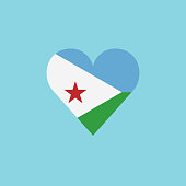 Djibouti flag icon in a heart shape in flat design
