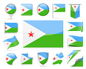 Djibouti Flag Vector Set