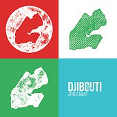 Djibouti Grunge Retro Maps - Africa