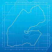 Djibouti map on blueprint background