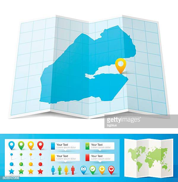 djibouti map with location pins isolated on white background - djibouti stock illustrations