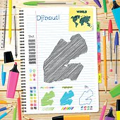 Djibouti maps hand drawn on notebook. Wooden Background