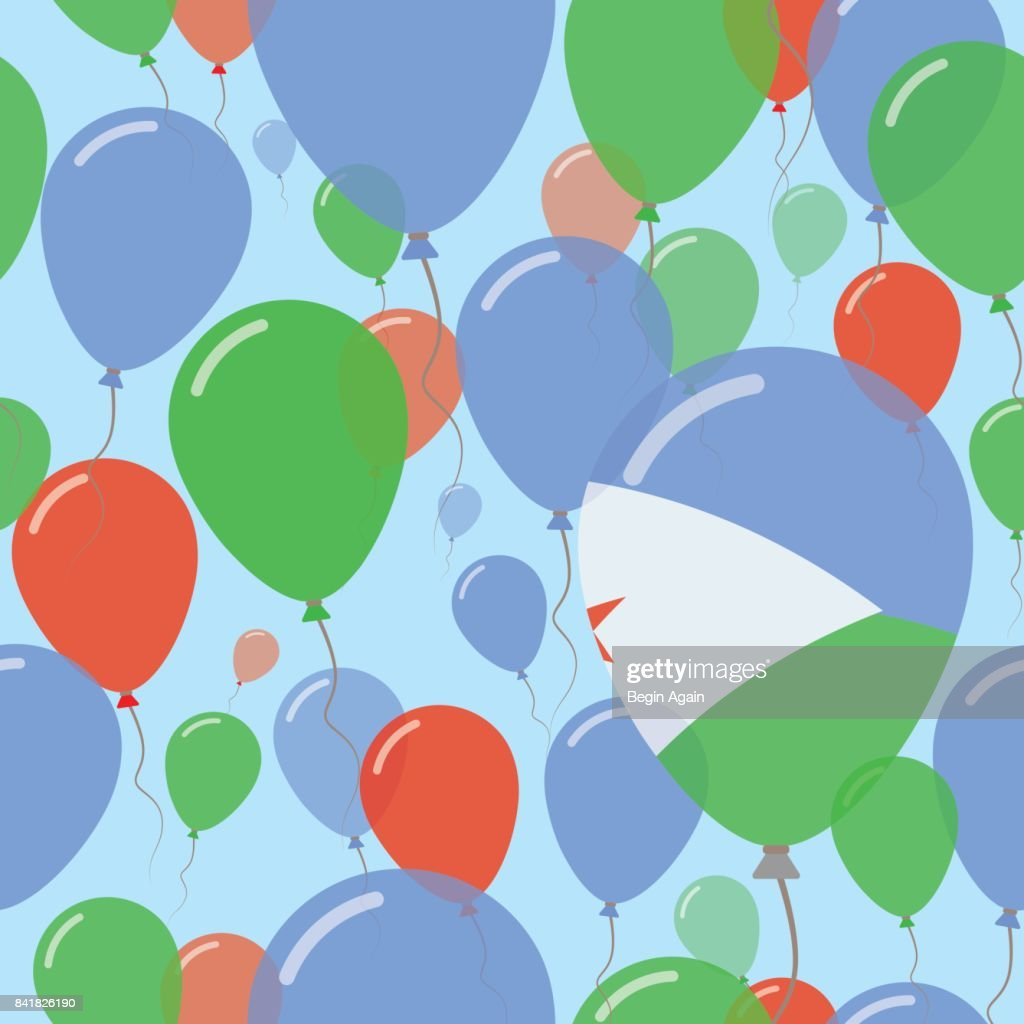 Djibouti National Day Flat Seamless Pattern. Flying Celebration Balloons in Colors of Djibouti Flag. Happy Independence Day Background with Flags and Balloons.