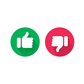Do and Dont thumb up and down vector icons. Vector red bad and green good, Like and unlike symbols for negative and positive check