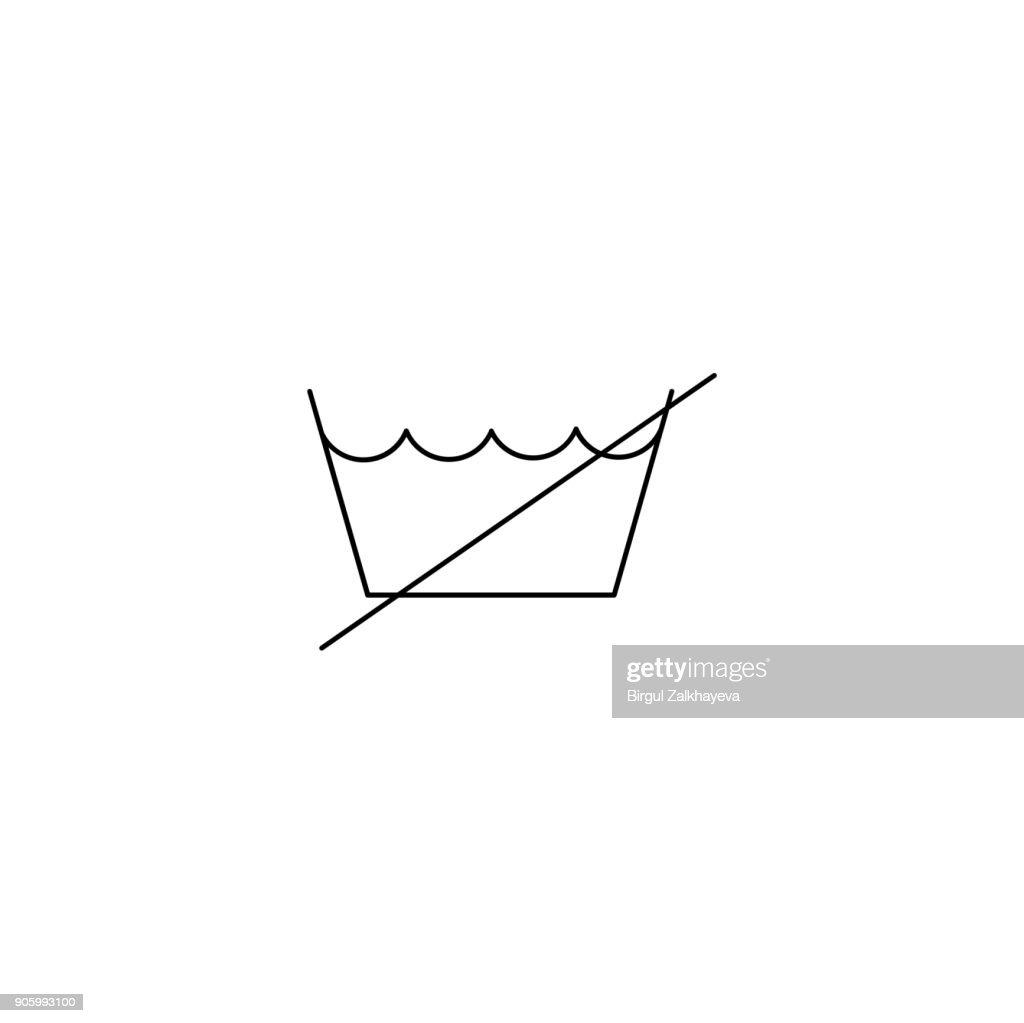 do not washing care laundry symbol line icon black on white