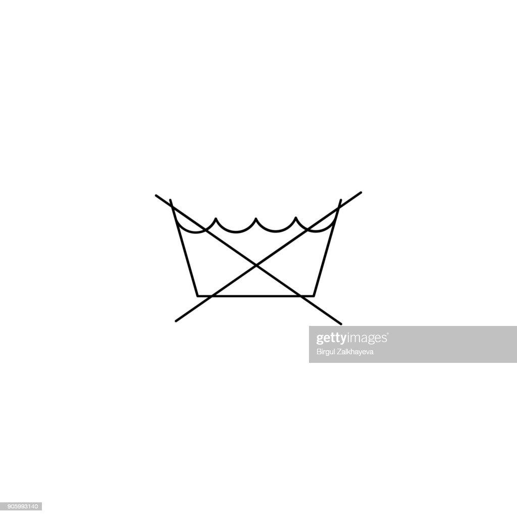 do not washing care laundry symbol line icon on white background