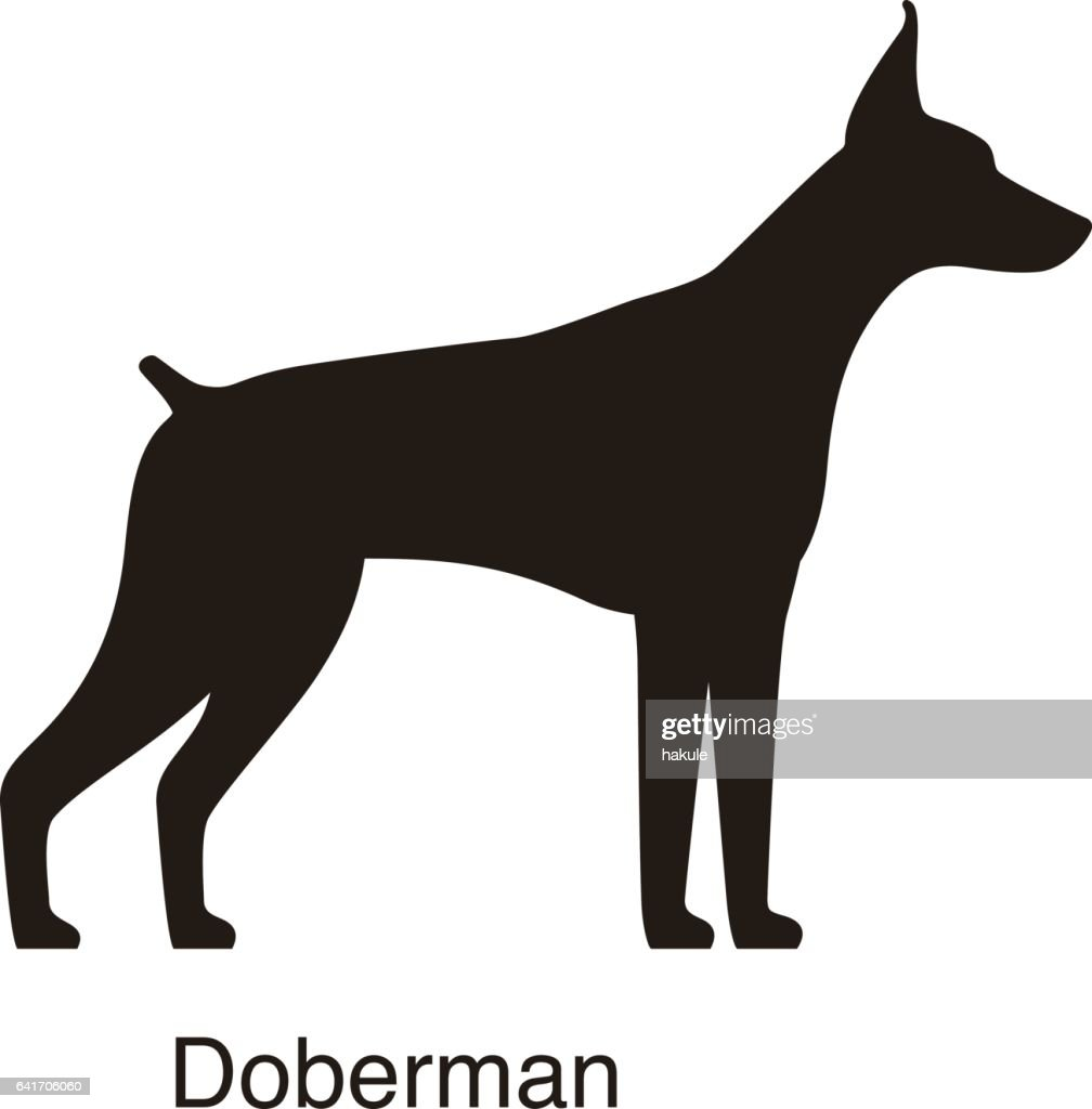 Doberman Dog Silhouette Side View Vector High